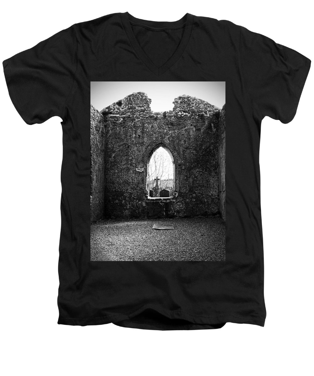 Ireland Men's V-Neck T-Shirt featuring the photograph Window At Fuerty Church Roscommon Ireland by Teresa Mucha