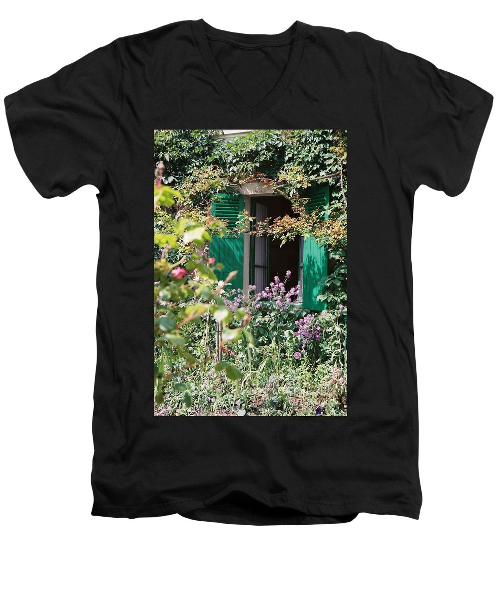 Charming Men's V-Neck T-Shirt featuring the photograph Window To Monet by Nadine Rippelmeyer