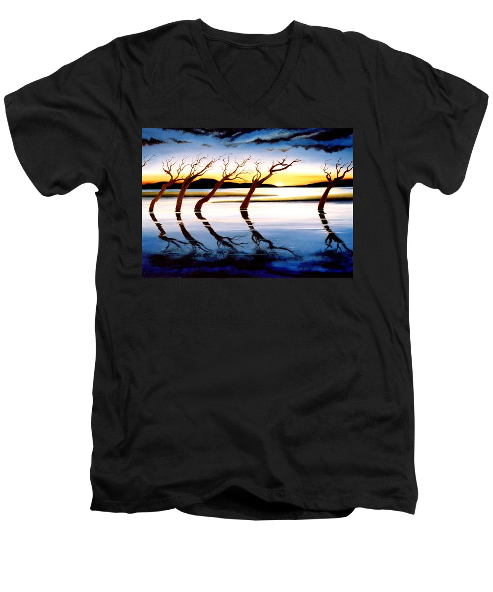 Seascape Men's V-Neck T-Shirt featuring the painting Winter Heatwave by Mark Cawood