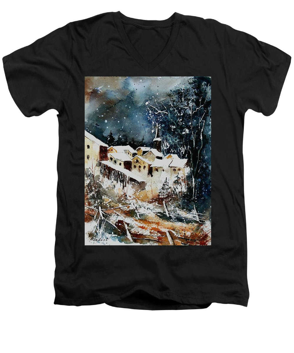 Winter Men's V-Neck T-Shirt featuring the painting Winter In Vivy by Pol Ledent
