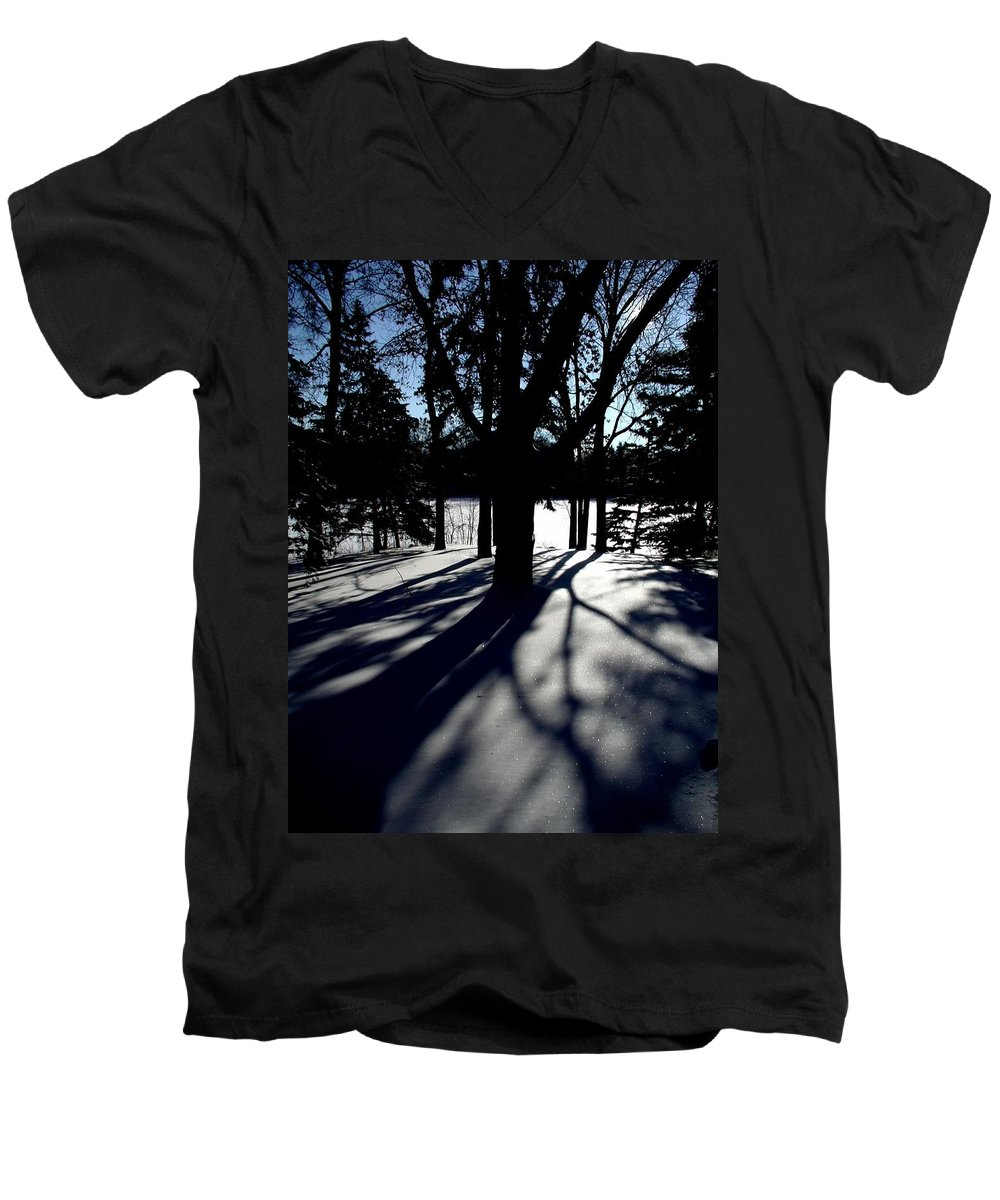 Landscape Men's V-Neck T-Shirt featuring the photograph Winter Shadows 2 by Tom Reynen