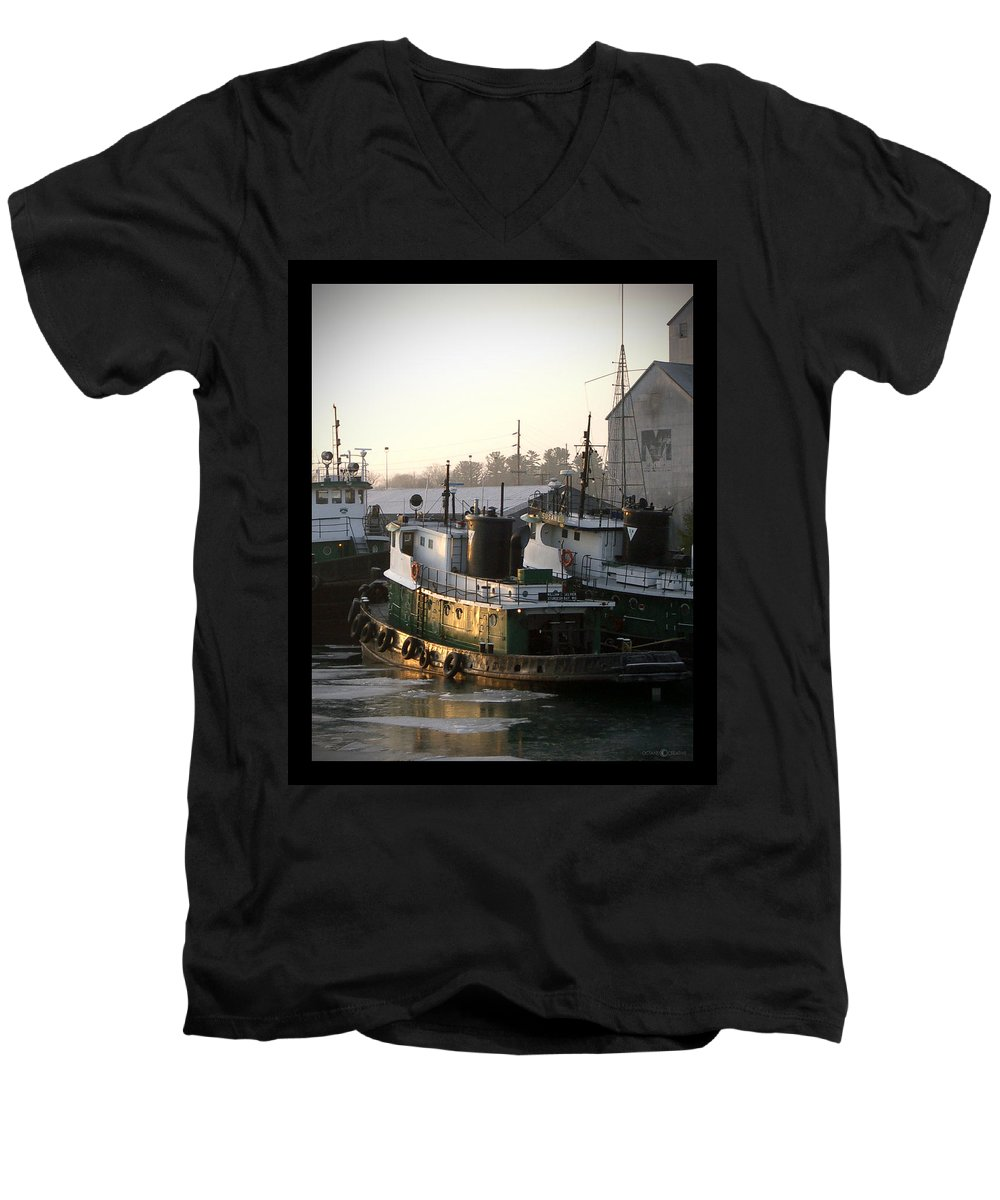 Tugs Men's V-Neck T-Shirt featuring the photograph Winter Tugs by Tim Nyberg