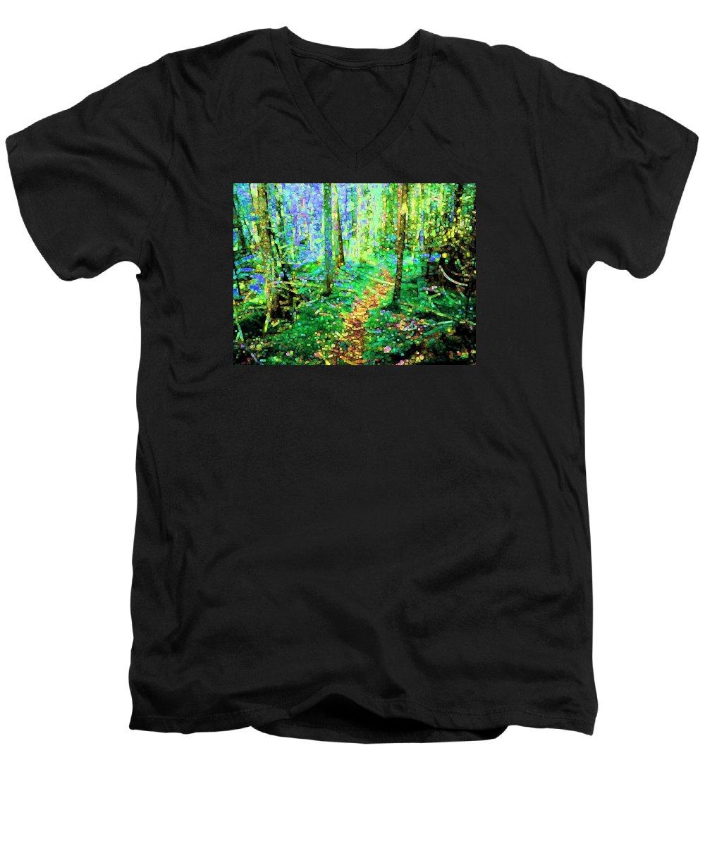 Nature Men's V-Neck T-Shirt featuring the digital art Wooded Trail by Dave Martsolf