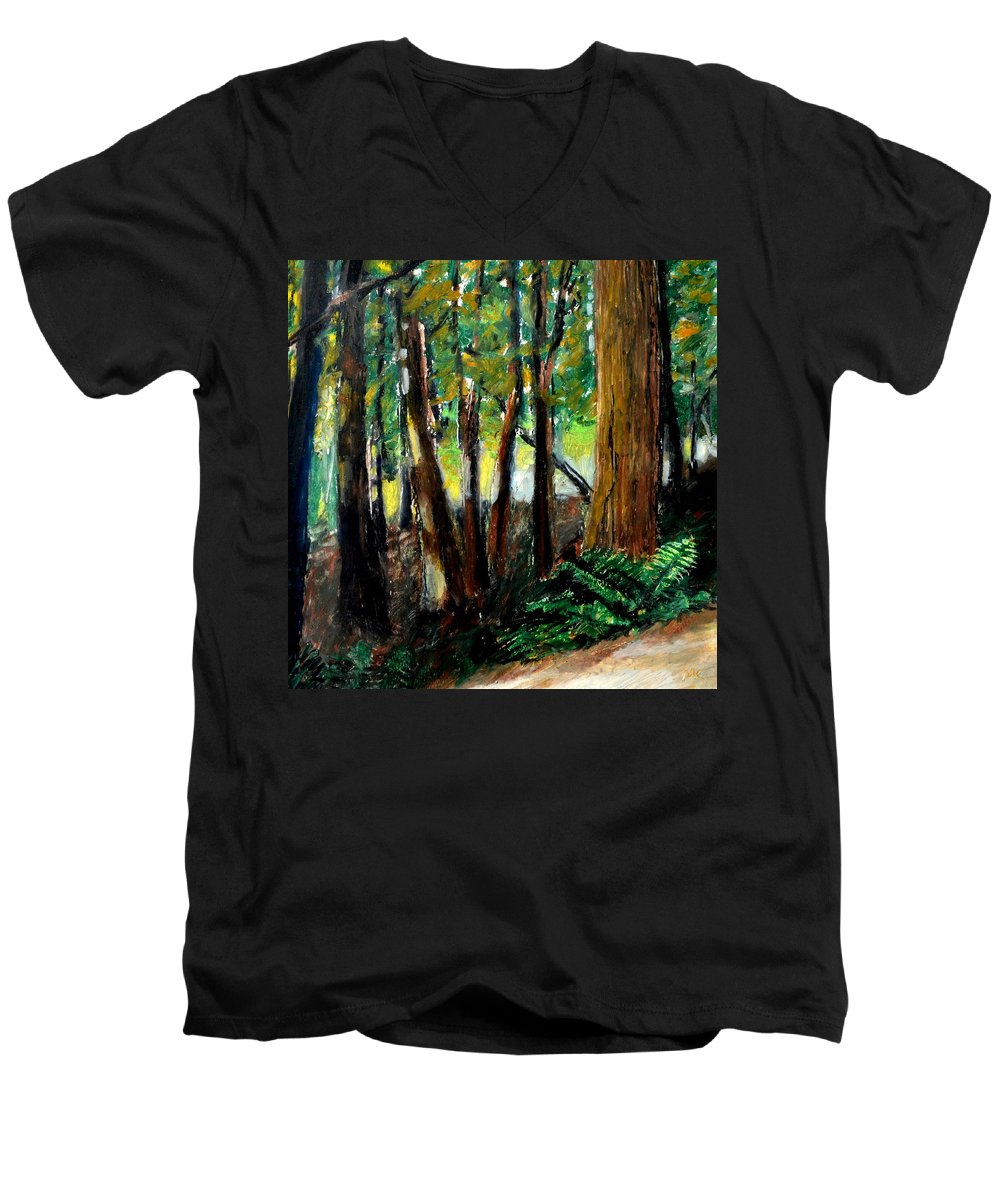 Livingston Trail Men's V-Neck T-Shirt featuring the drawing Woodland Trail by Michelle Calkins