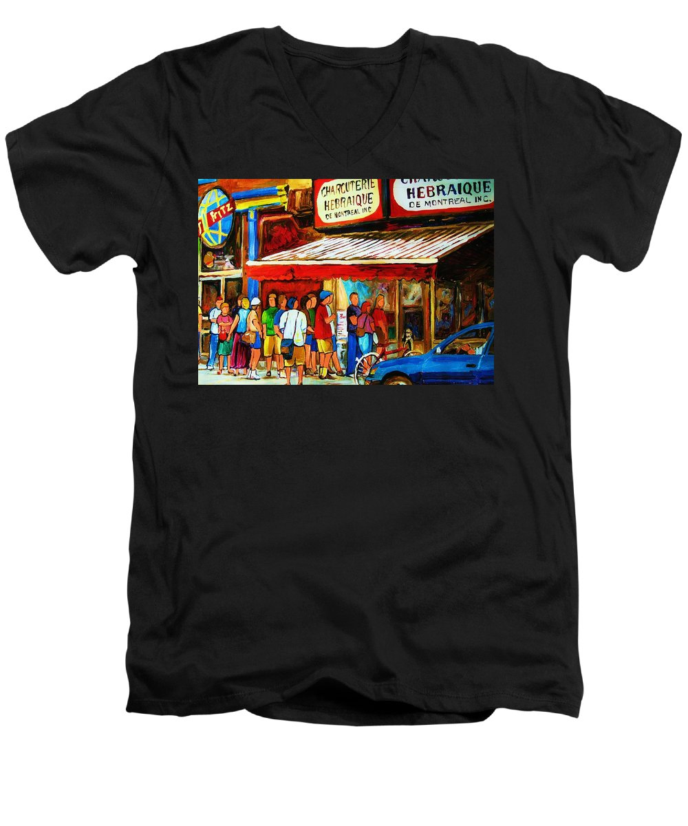 Montreal Streetscenes Men's V-Neck T-Shirt featuring the painting Worth The Wait by Carole Spandau