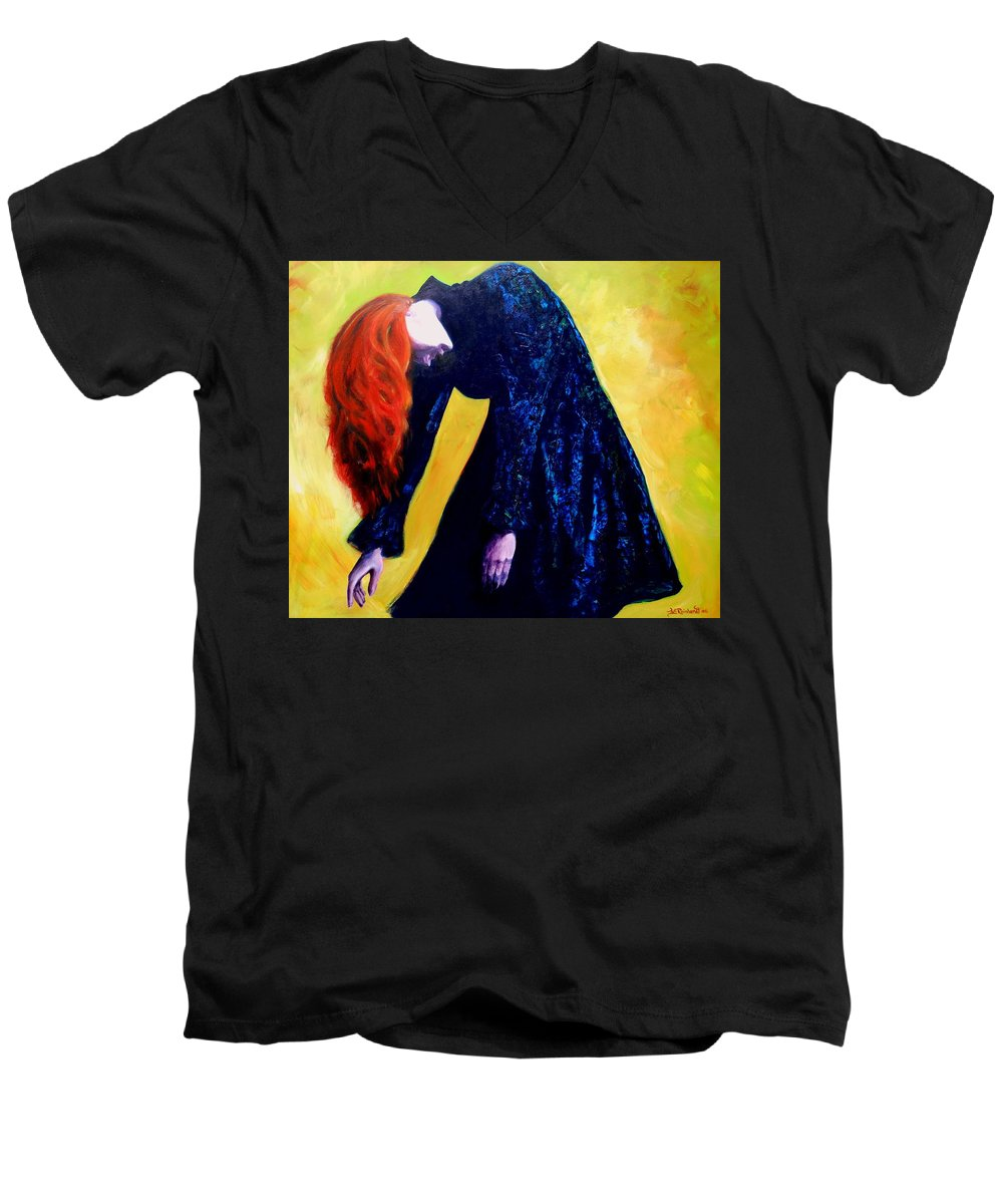 Acrylic Men's V-Neck T-Shirt featuring the painting Wound Down by Jason Reinhardt