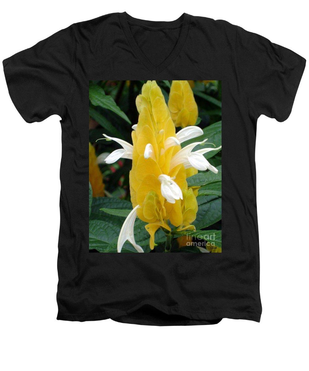 Flower Men's V-Neck T-Shirt featuring the photograph Yellow Eruption by Shelley Jones
