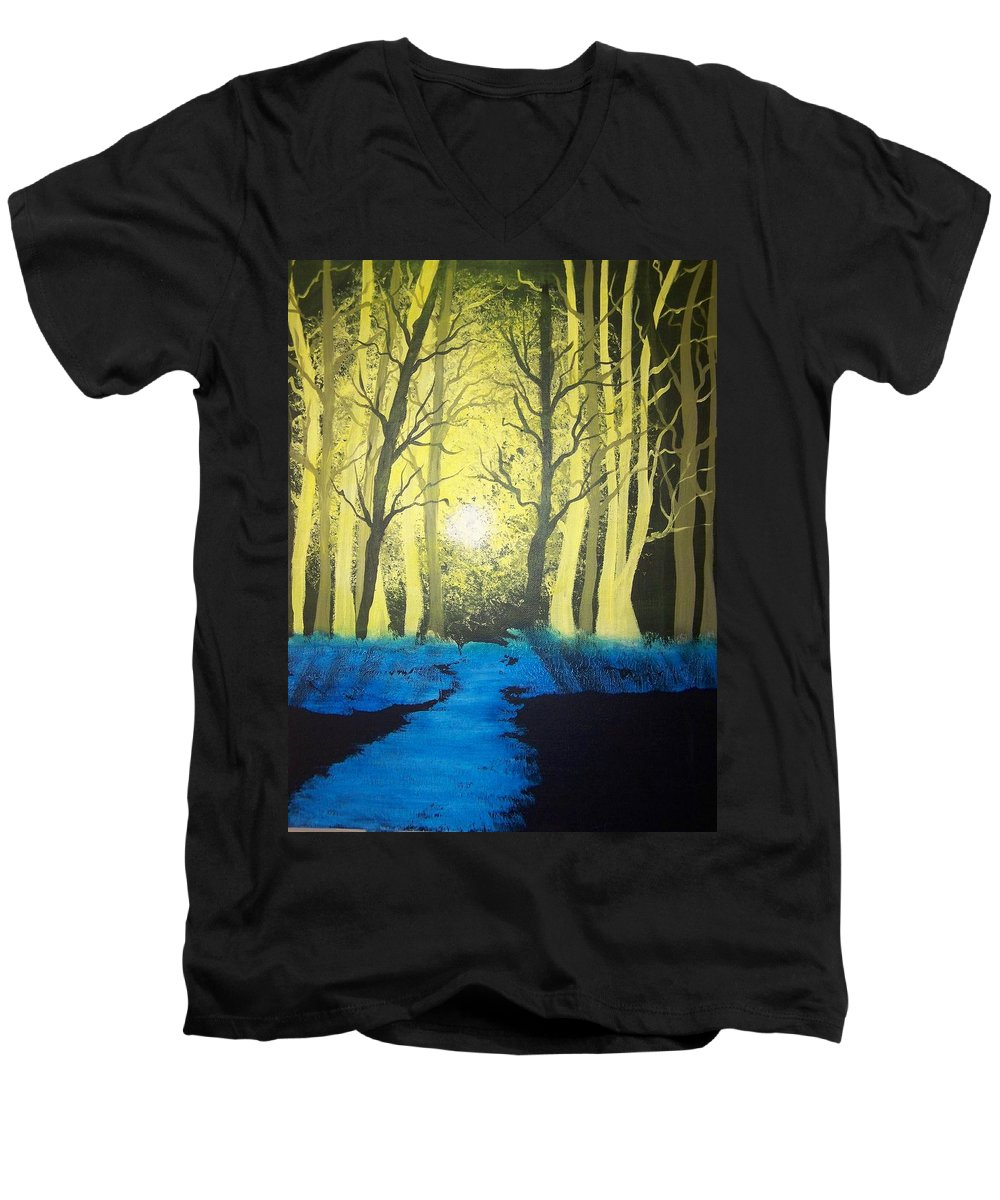 Forest Men's V-Neck T-Shirt featuring the painting You Cant See The Forest For The Trees by Laurie Kidd