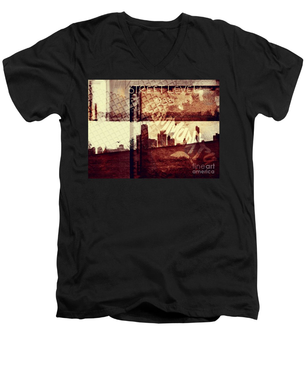 Chicago Men's V-Neck T-Shirt featuring the photograph You Held My Hand Softly Through The Humid Summer Streets by Dana DiPasquale