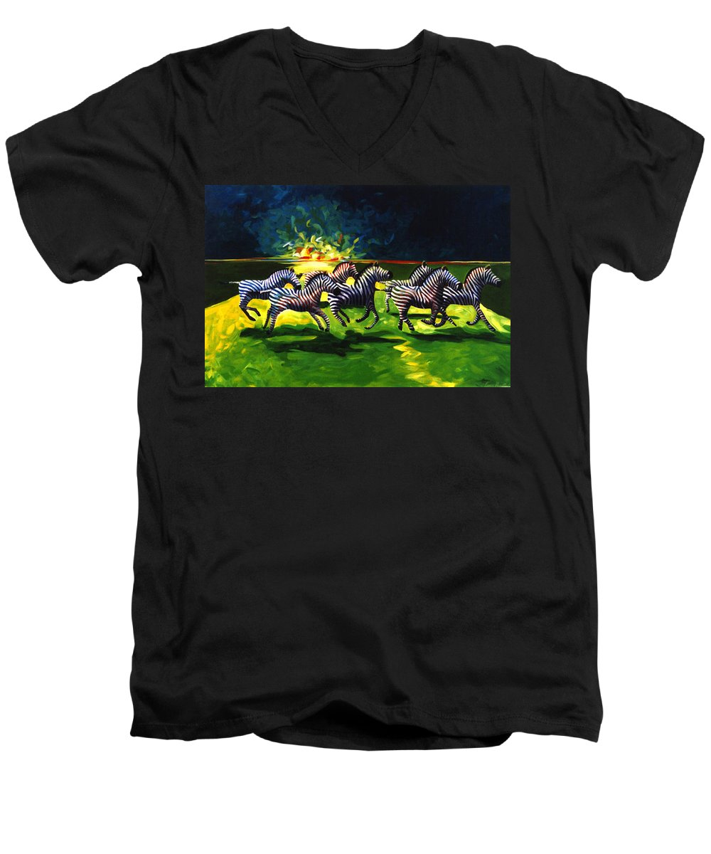 Modern Men's V-Neck T-Shirt featuring the painting Zebz by Lance Headlee