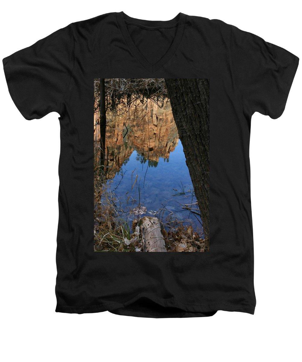 Zion Men's V-Neck T-Shirt featuring the photograph Zion Reflections by Nelson Strong