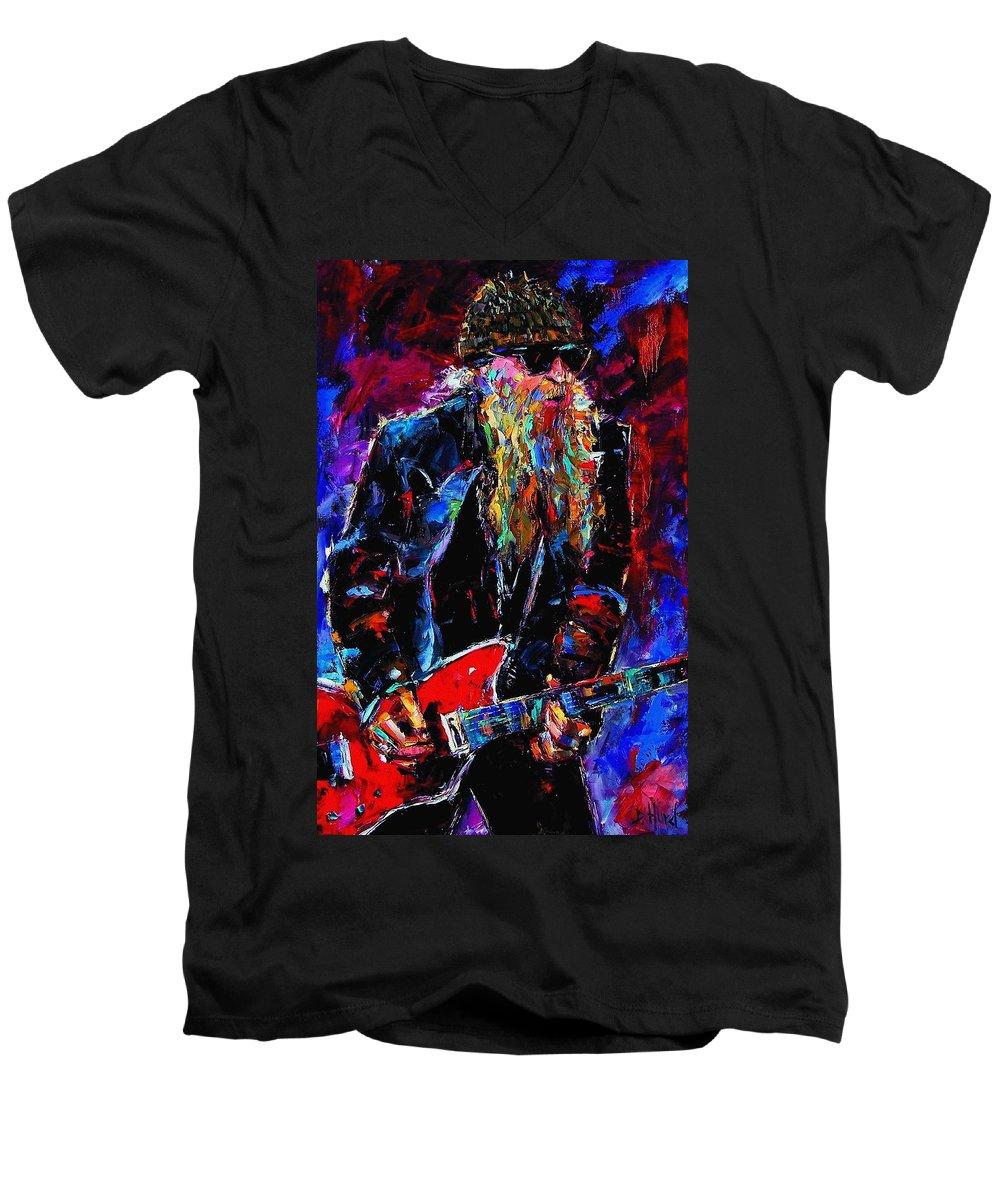 Music Men's V-Neck T-Shirt featuring the painting Zz Top Billie Gibbons by Debra Hurd