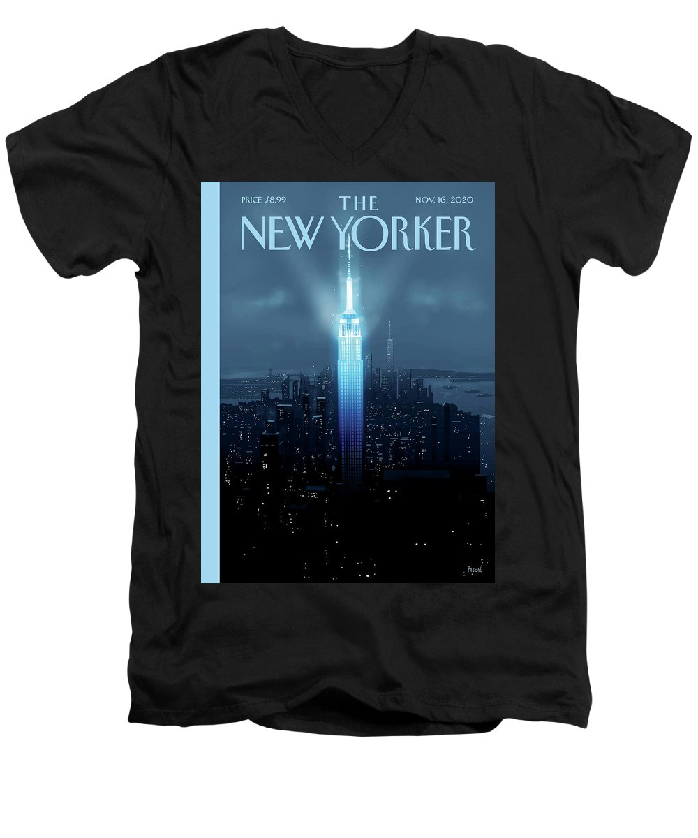 New York Men's V-Neck T-Shirt featuring the painting Hope Again by Pascal Campion
