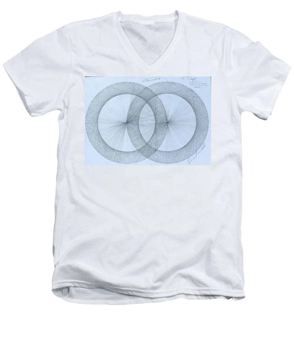 Fractal Men's V-Neck T-Shirt featuring the drawing Magnetism by Jason Padgett