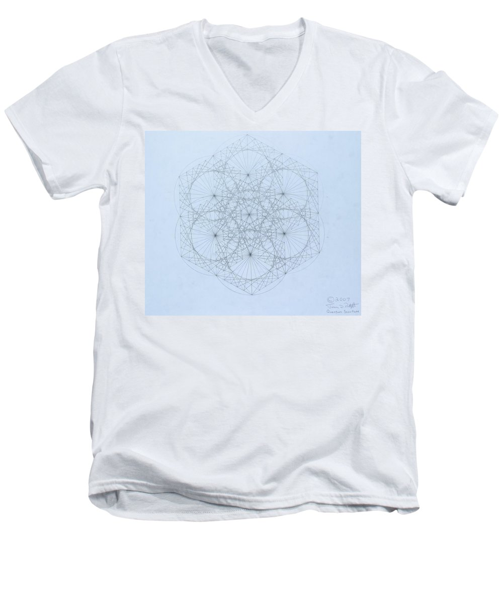 Jason Padgett Men's V-Neck T-Shirt featuring the drawing Quantum Snowflake by Jason Padgett
