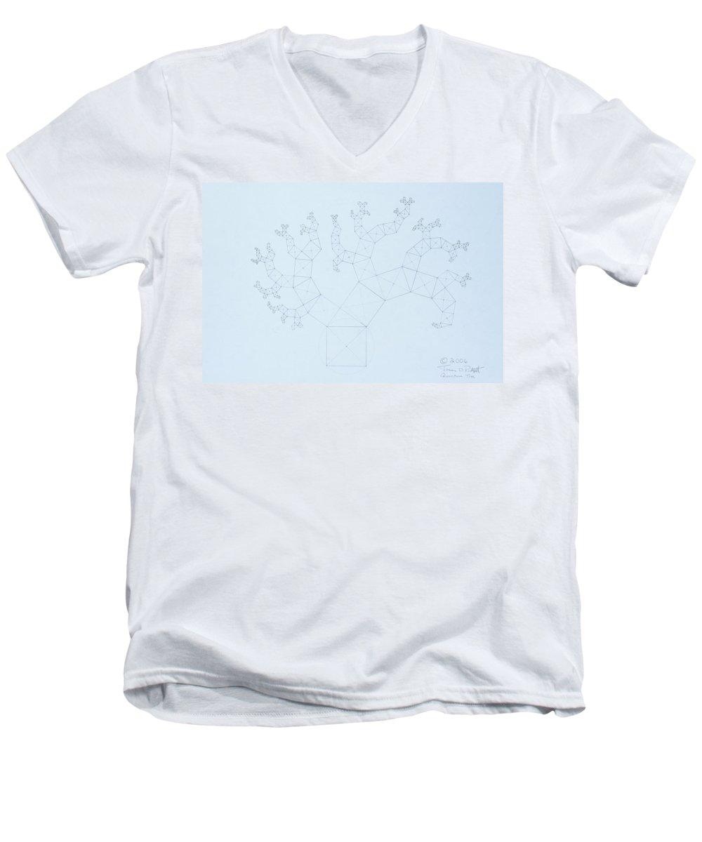 Fractal Tree Men's V-Neck T-Shirt featuring the drawing Quantum Tree by Jason Padgett