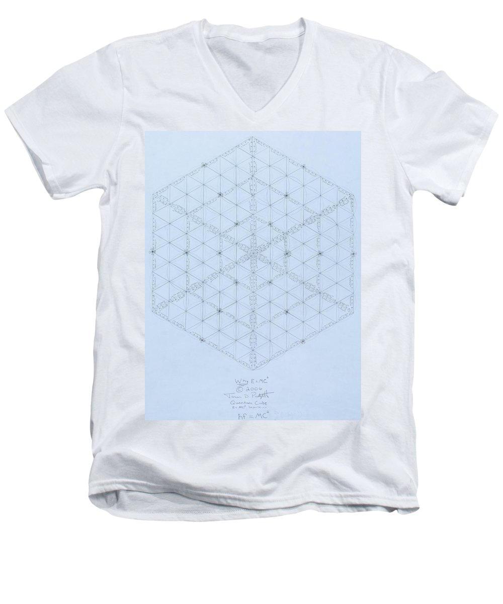 Energy Men's V-Neck T-Shirt featuring the drawing Why Energy Equals Mass Times The Speed Of Light Squared by Jason Padgett