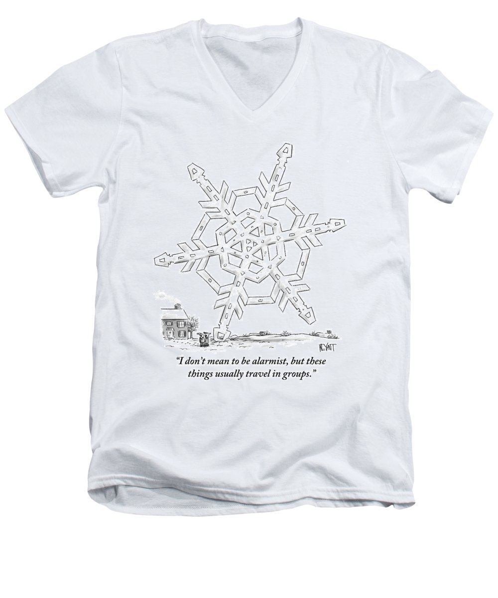 Snow Men's V-Neck T-Shirt featuring the drawing A Couple Stand Outside Of Their House by Christopher Weyant