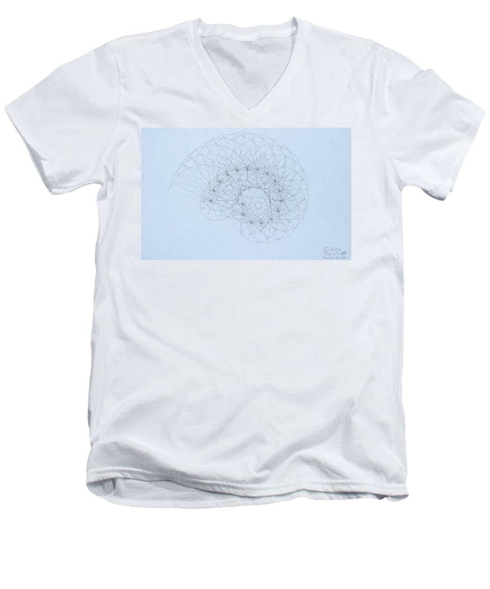 Jason Padgett Men's V-Neck T-Shirt featuring the drawing Quantum Nautilus by Jason Padgett
