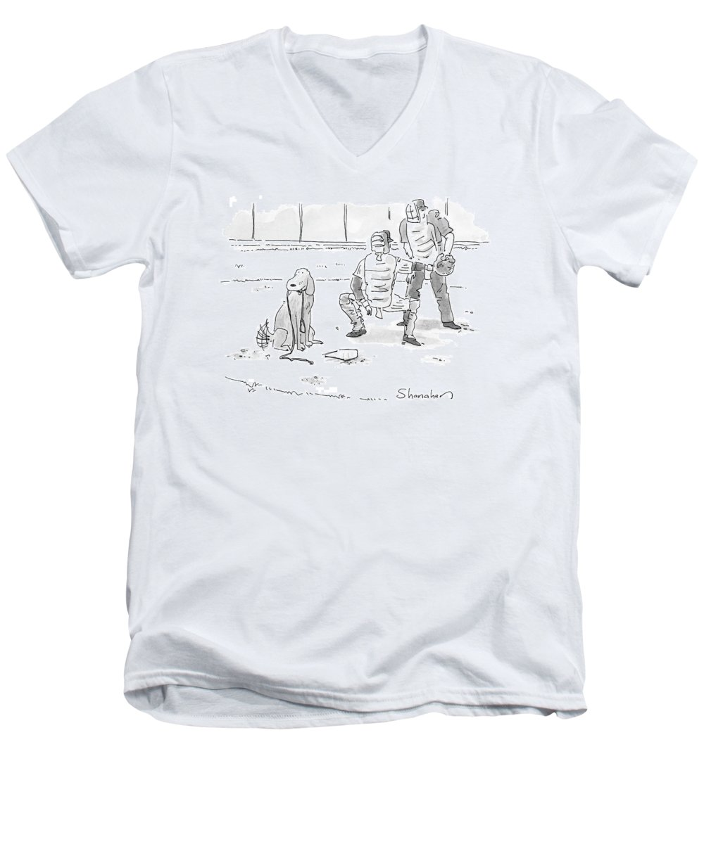 Sports Pets Dogs Baseball Homeplate Walk Men's V-Neck T-Shirt featuring the drawing New Yorker October 10th, 2005 by Danny Shanahan