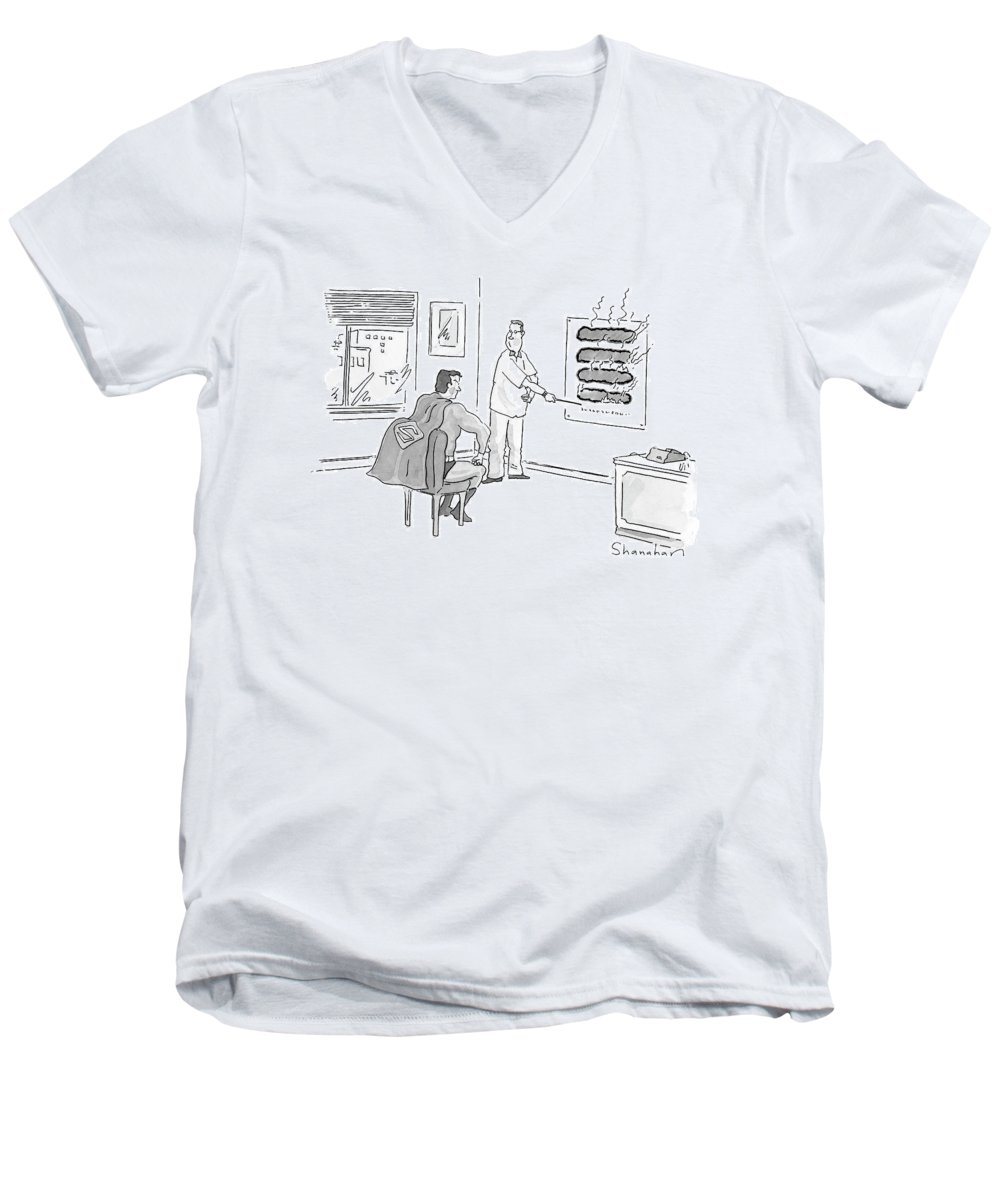 Superman Men's V-Neck T-Shirt featuring the drawing New Yorker June 12th, 2000 by Danny Shanahan