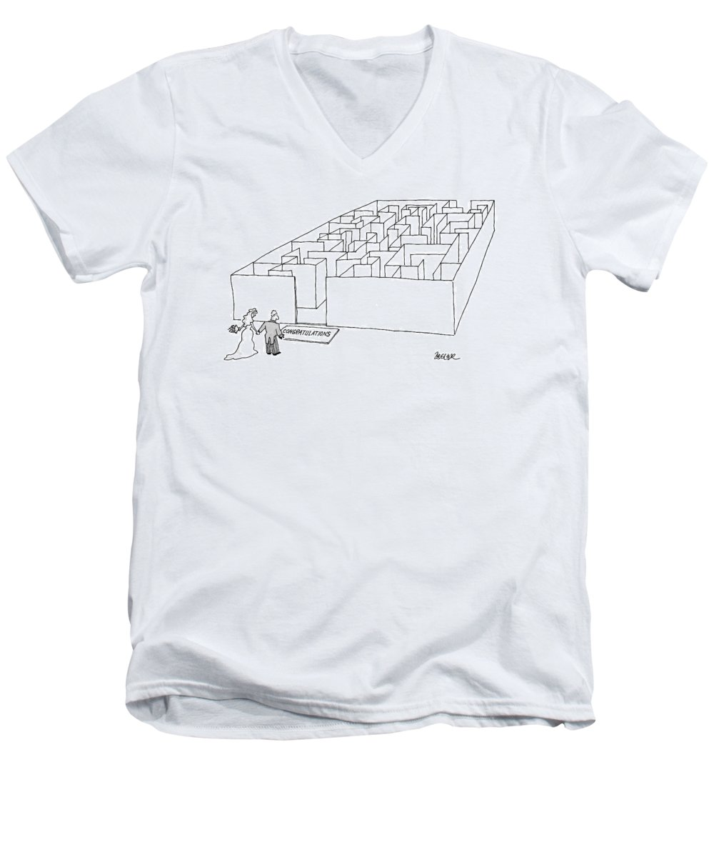 (newlyweds Approach 'congratulations' Mat In Front Of Giant Labyrinth.) Relationships Men's V-Neck T-Shirt featuring the drawing New Yorker July 10th, 2000 by Jack Ziegler