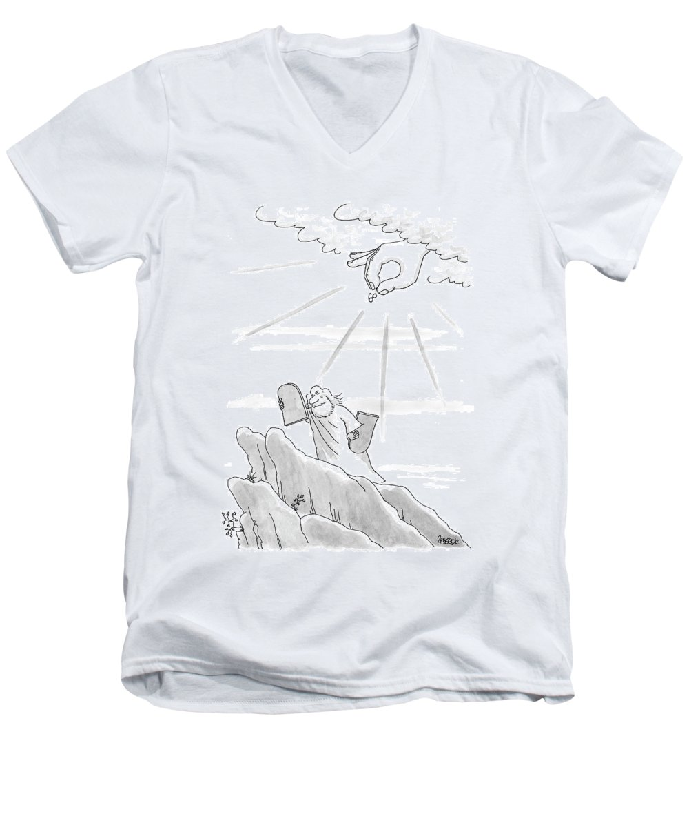 Moses Men's V-Neck T-Shirt featuring the drawing New Yorker September 4th, 2000 by Jack Ziegler