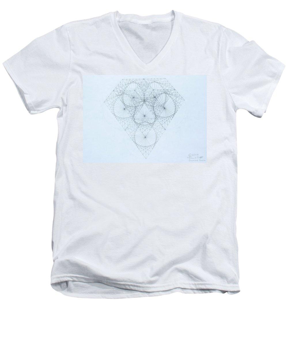 Jason Padgett Men's V-Neck T-Shirt featuring the drawing Diamond Quanta by Jason Padgett