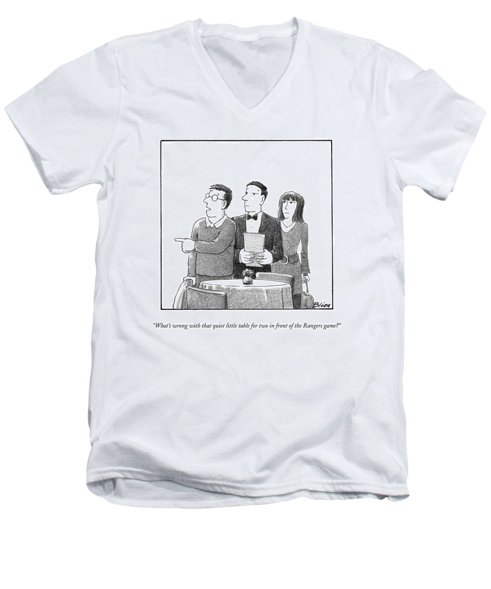Restaurants Men's V-Neck T-Shirt featuring the drawing What's Wrong With That Quiet Little Table For Two by Harry Bliss