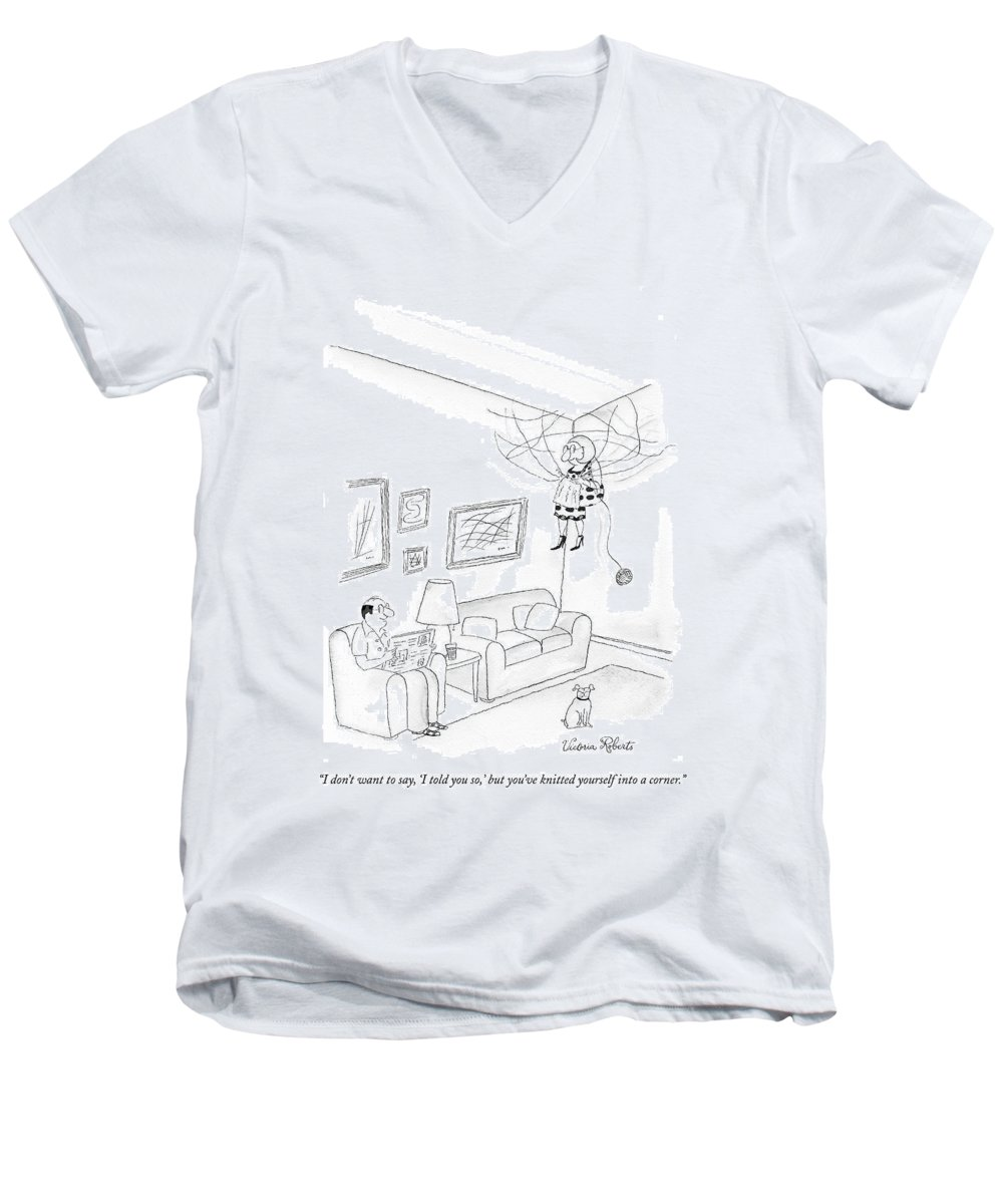 Hobby Men's V-Neck T-Shirt featuring the drawing I Don't Want To Say by Victoria Roberts