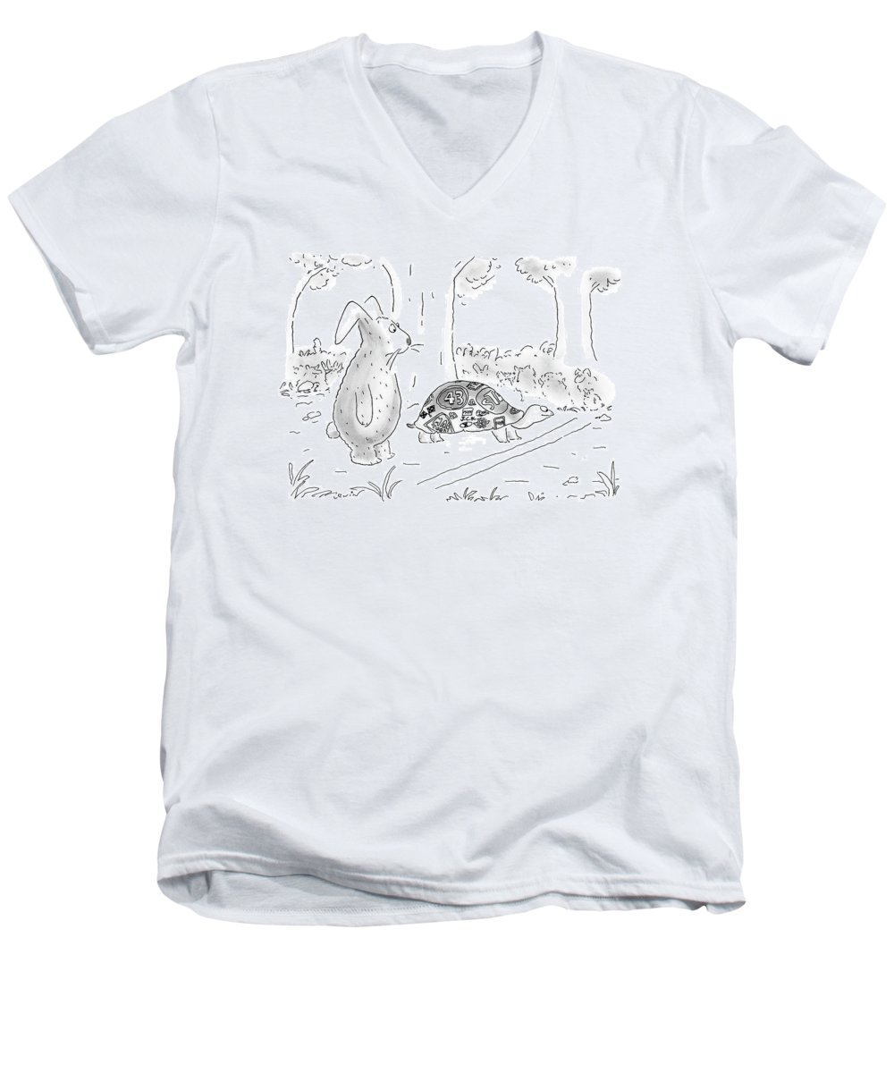 The Hare And The Tortoise Men's V-Neck T-Shirt featuring the drawing New Yorker August 21st, 2000 by Arnie Levin