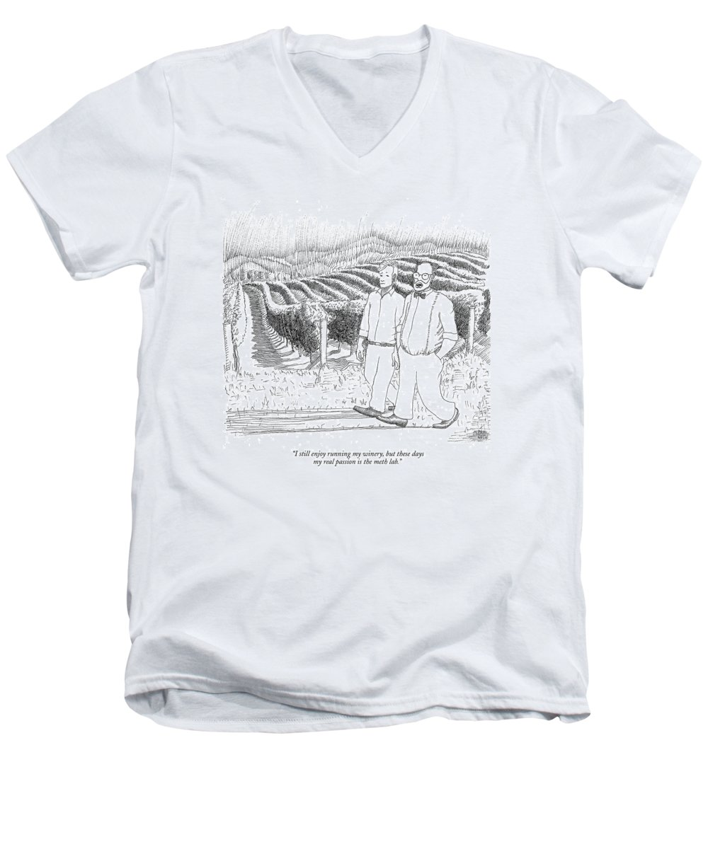 Drugs Science Hobbies Drinking Alcohol    (two Men Walking Through A Vineyard.) 122438 Pno Paul Noth Crystal Men's V-Neck T-Shirt featuring the drawing I Still Enjoy Running My Winery by Paul Noth