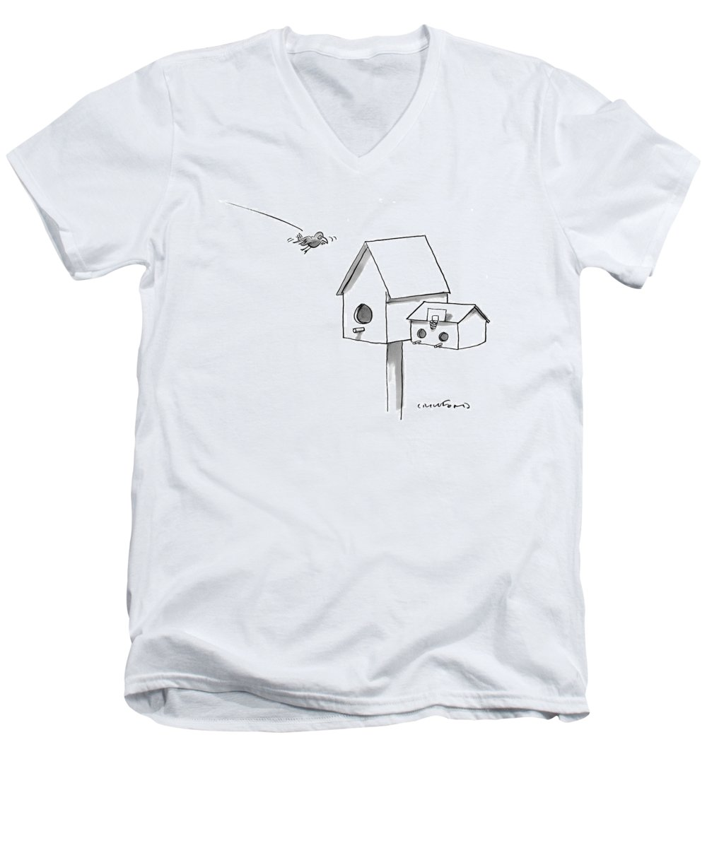 Birds - General Men's V-Neck T-Shirt featuring the drawing New Yorker August 21st, 2000 by Michael Crawford