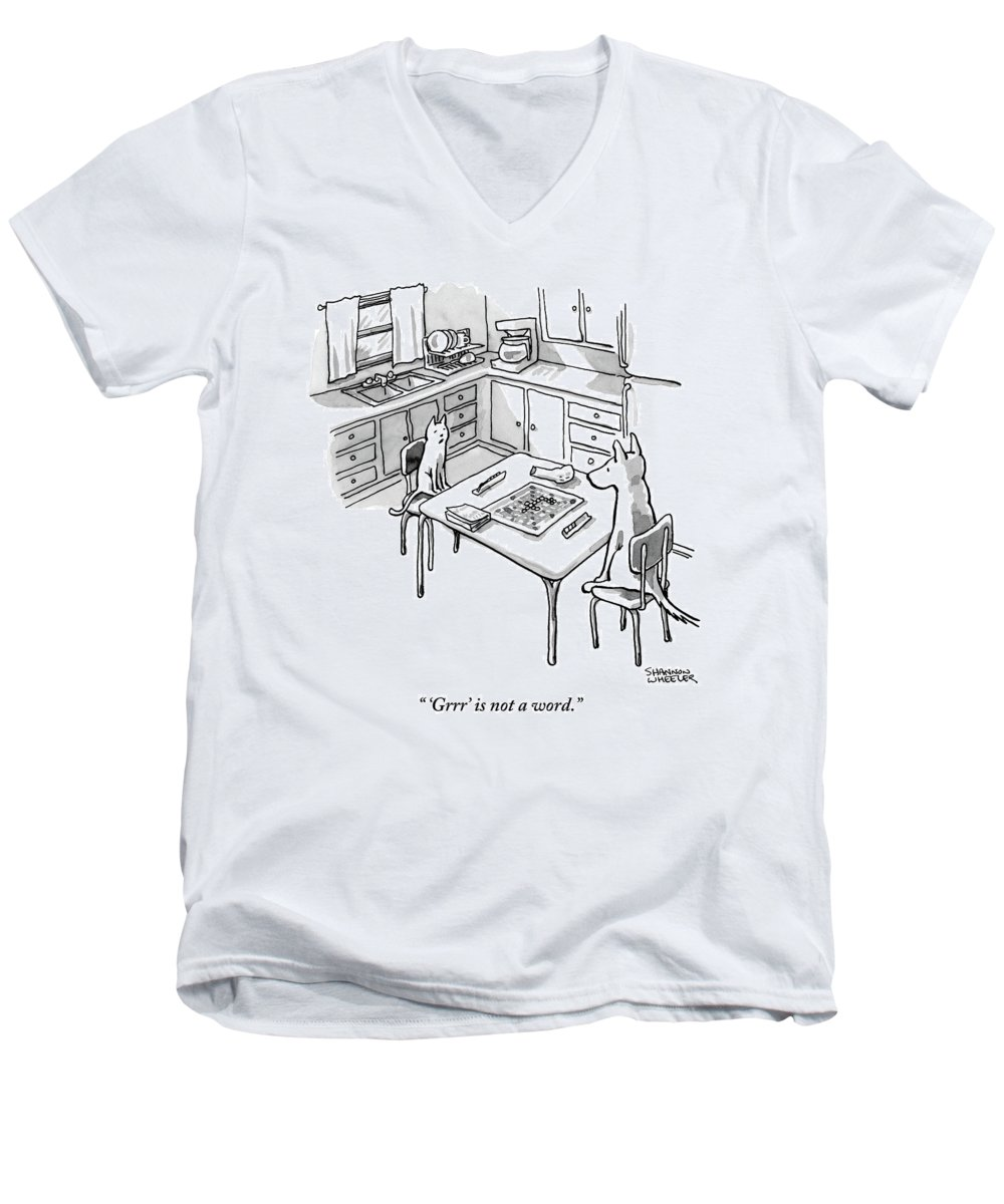 'grrr' Is Not A Word. Men's V-Neck T-Shirt featuring the drawing A Cat And Dog Play Scrabble In A Kitchen. 'grrr' by Shannon Wheeler