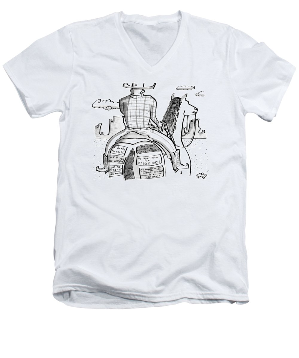 Cowboys Men's V-Neck T-Shirt featuring the drawing A Cowboy Rides A Horse Whose Rear End by Farley Katz