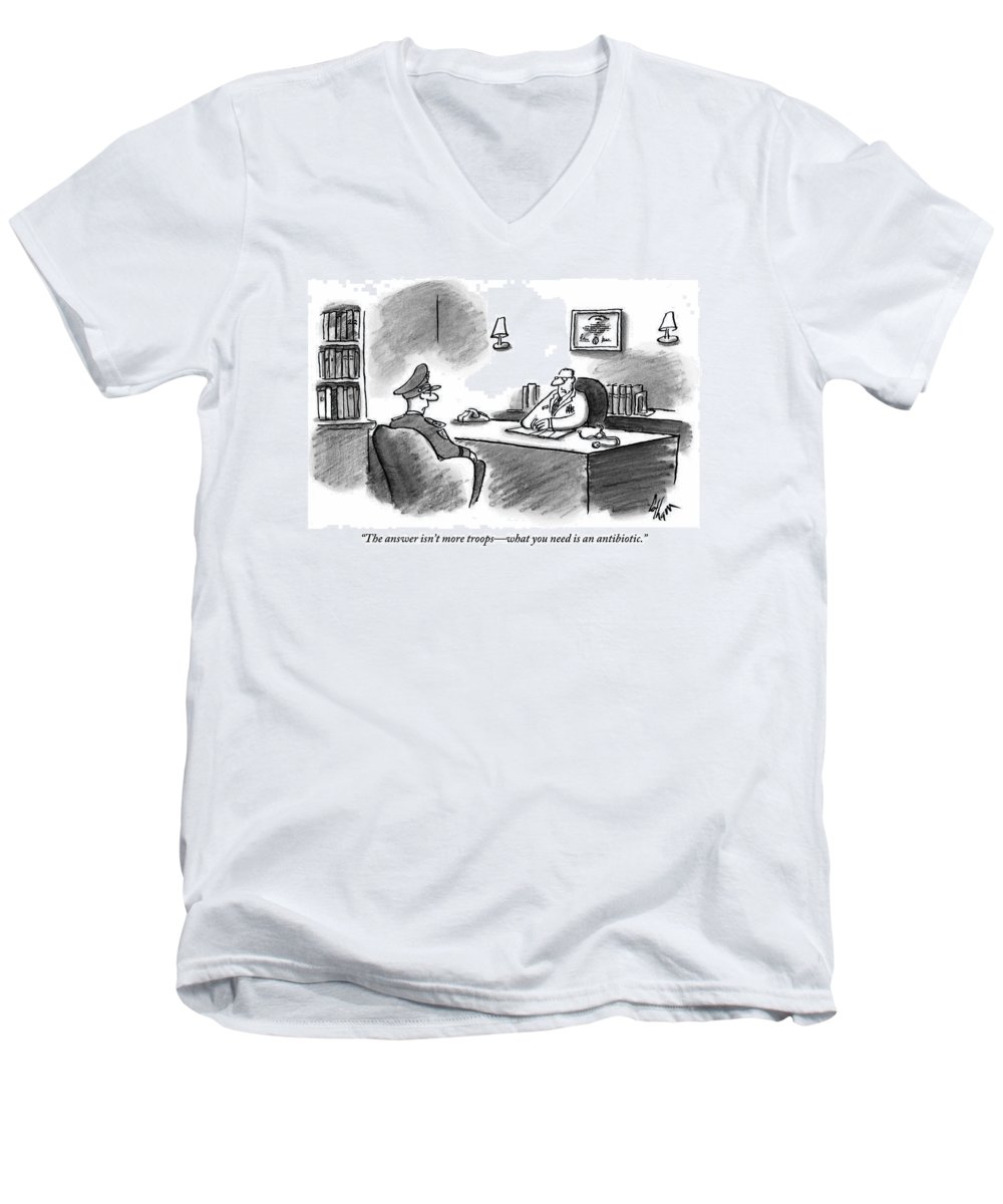 Army Men's V-Neck T-Shirt featuring the drawing A Doctor Seated Behind His Desk Addresses An Army by Frank Cotham
