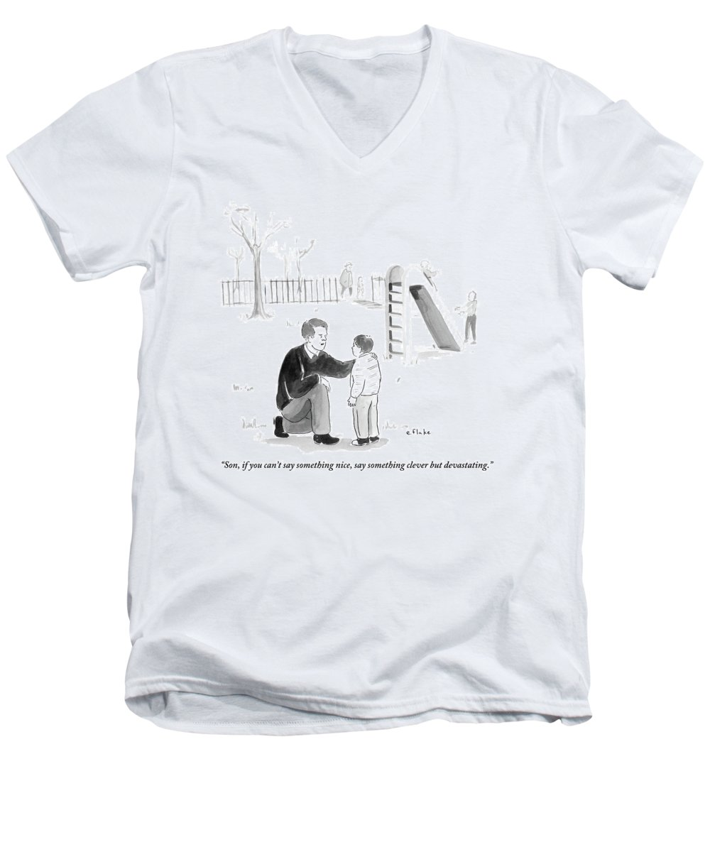 Advice Men's V-Neck T-Shirt featuring the drawing A Father Encourages His Son At The Playground by Emily Flake