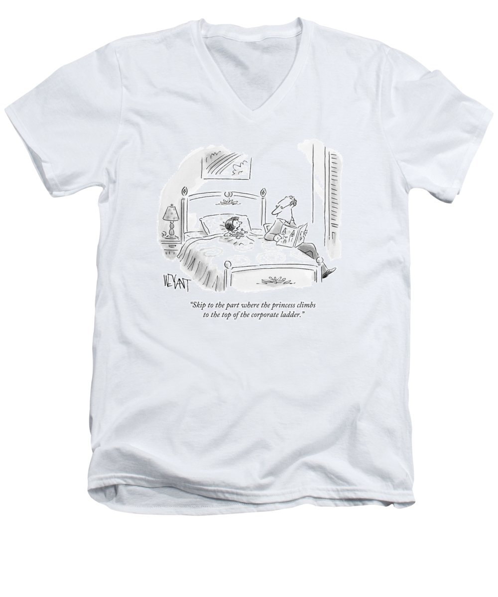 Parenting Men's V-Neck T-Shirt featuring the drawing A Father Reads His Daughter A Bedtime Story by Christopher Weyant