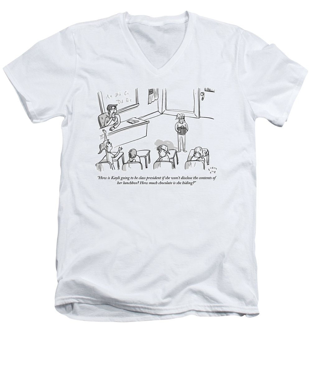 Elections Men's V-Neck T-Shirt featuring the drawing A Girl Stands In Front Of A Class Of Young by Farley Katz