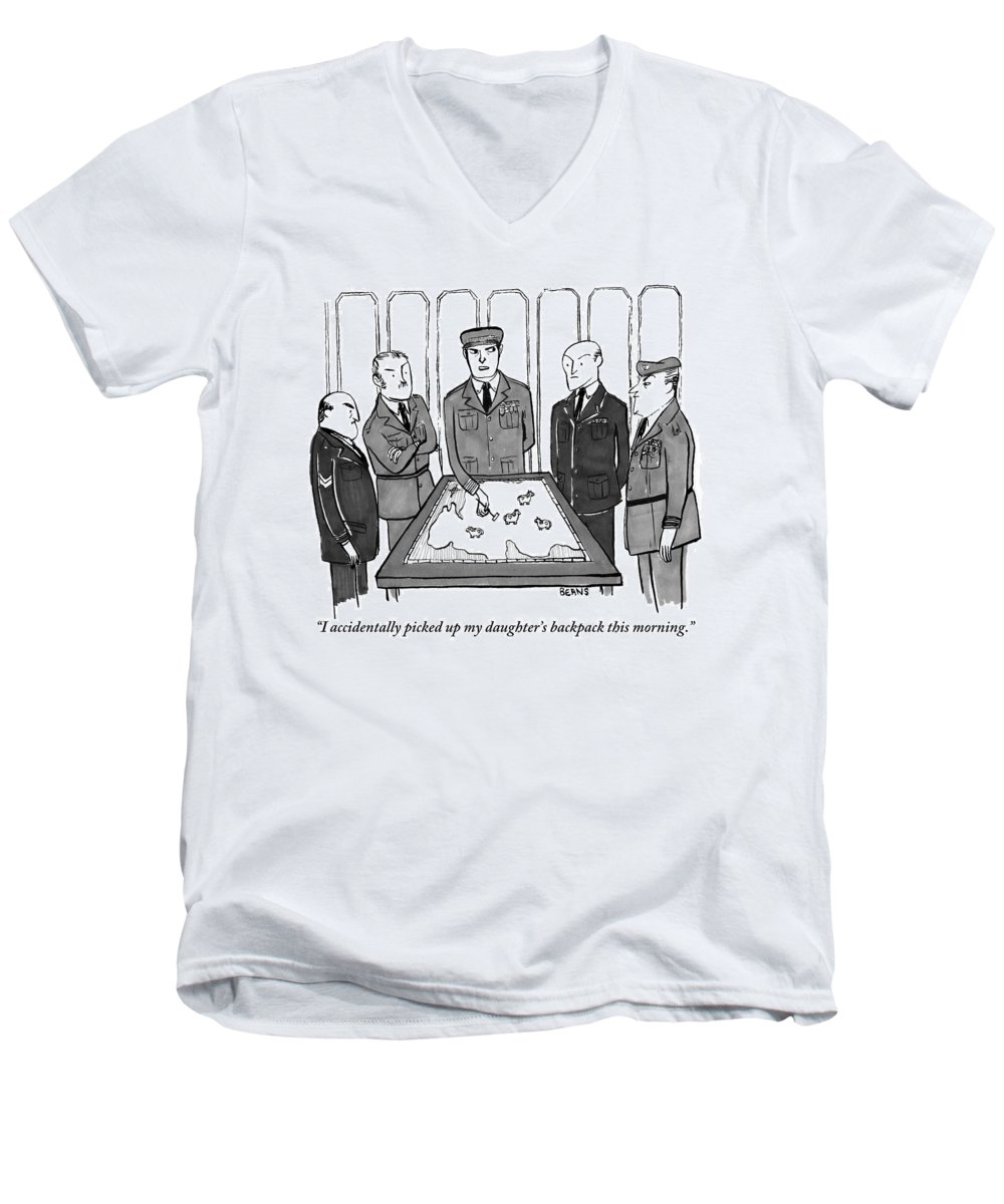 Army-generals Men's V-Neck T-Shirt featuring the drawing A Group Of Generals Are Seen In The War Room by Kate Beaton