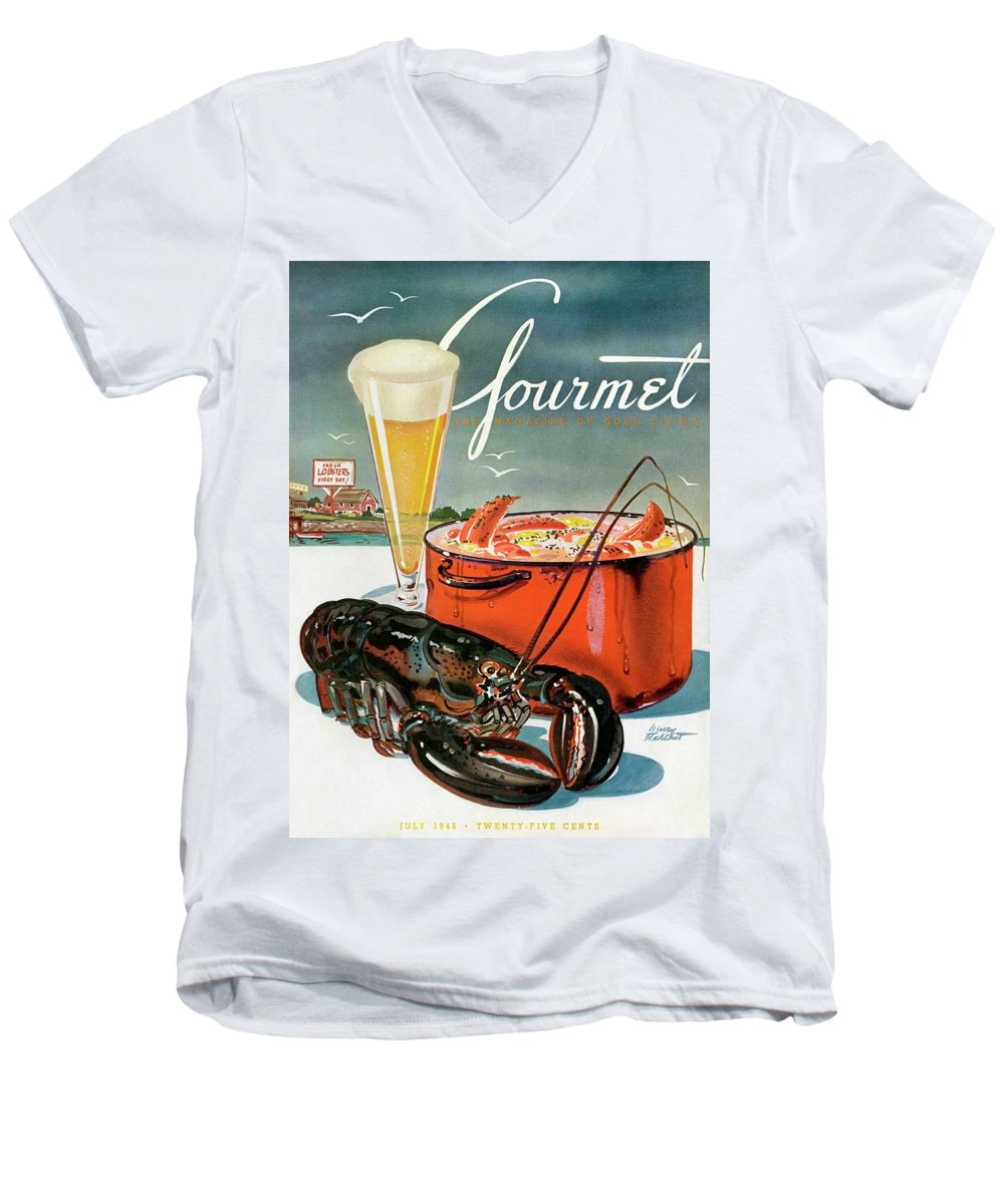 Illustration Men's V-Neck T-Shirt featuring the photograph A Lobster And A Lobster Pot With Beer by Henry Stahlhut