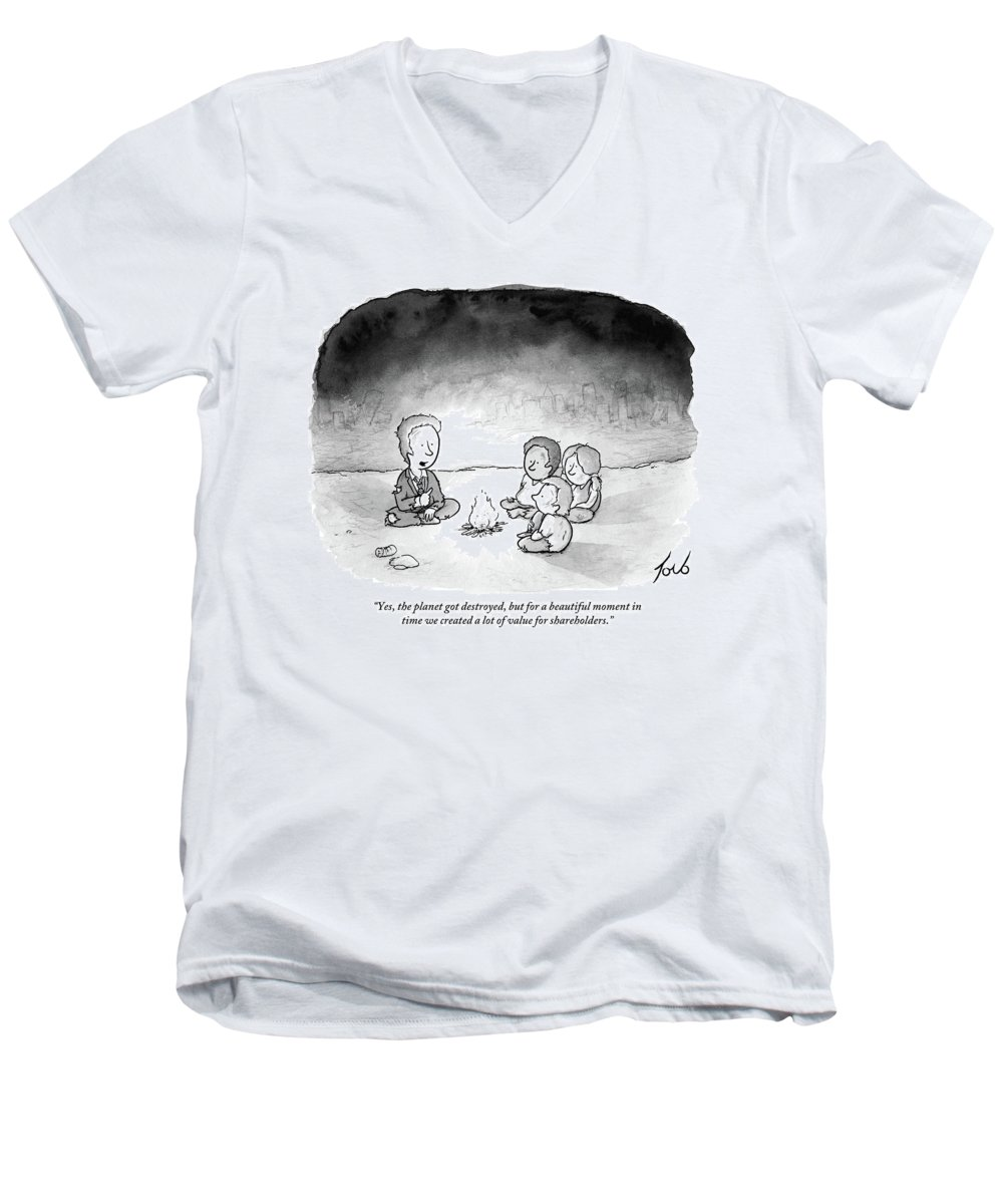 Yes Men's V-Neck T-Shirt featuring the drawing A Man And 3 Children Sit Around A Fire by Tom Toro
