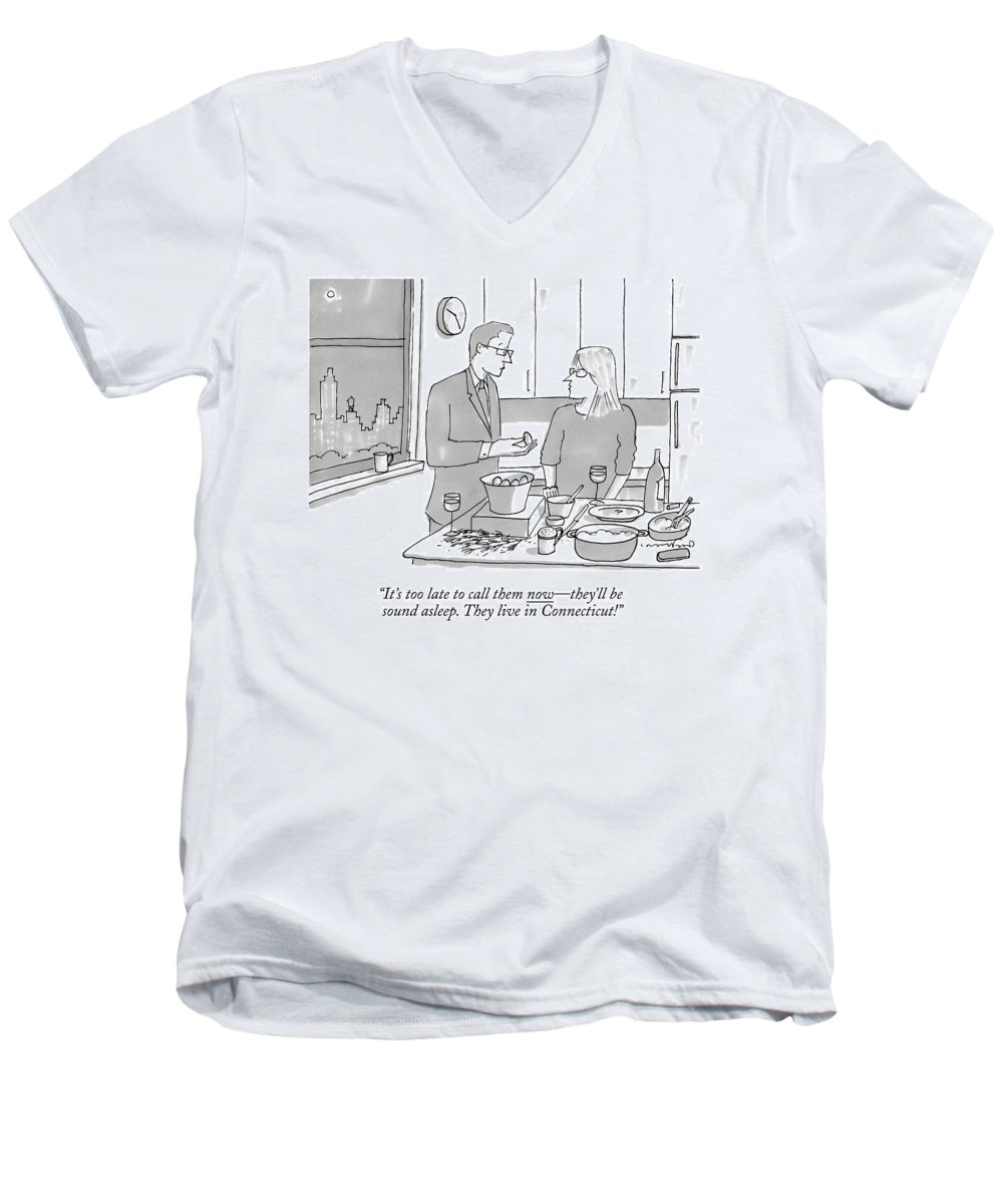 New York Men's V-Neck T-Shirt featuring the drawing A Man And Wife Stand In The Kitchen by Michael Crawford
