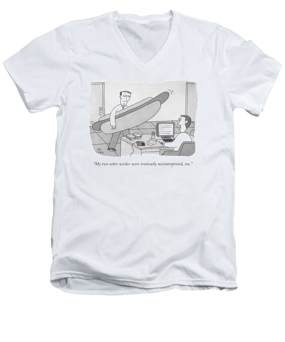 Hot Dog Men's V-Neck T-Shirt featuring the drawing A Man Carrying A Giant Hot Dog Speaks To Another by Peter C. Vey