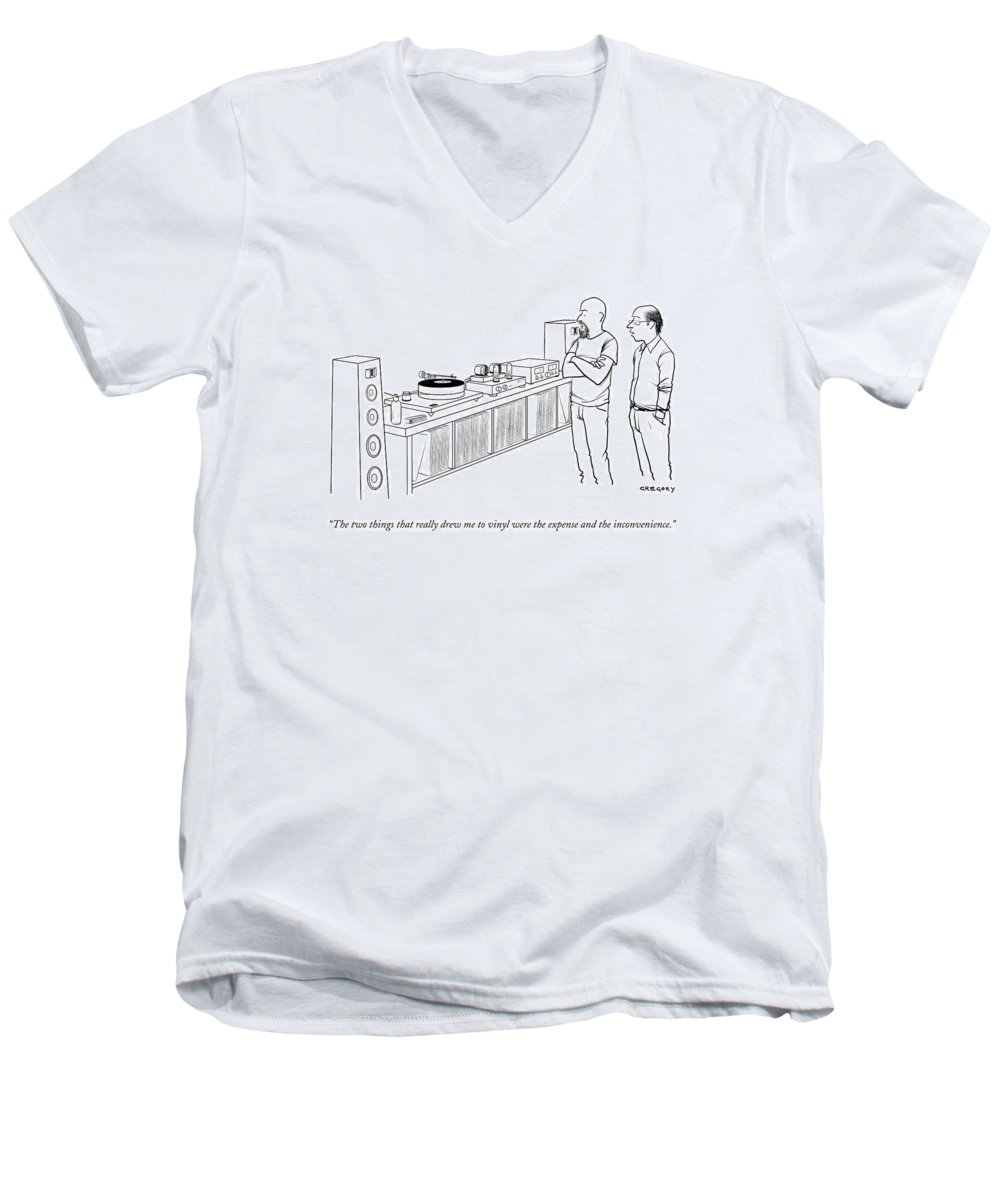 Records Men's V-Neck T-Shirt featuring the drawing A Man Shows Another Man His Extensive Collection by Alex Gregory