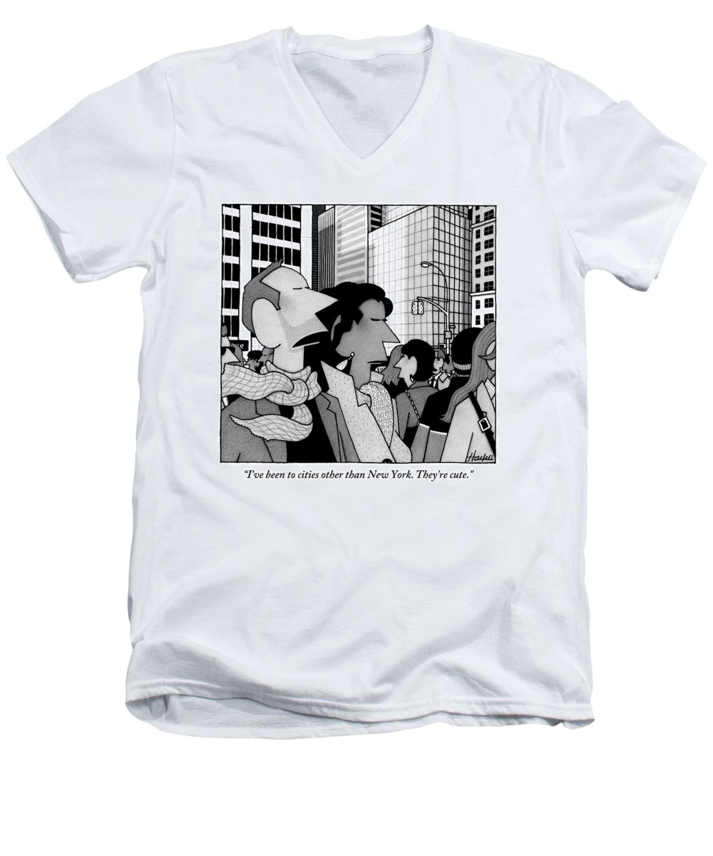New York City Men's V-Neck T-Shirt featuring the drawing A Man Speaks To His Wife In The Midst Of New York by William Haefeli