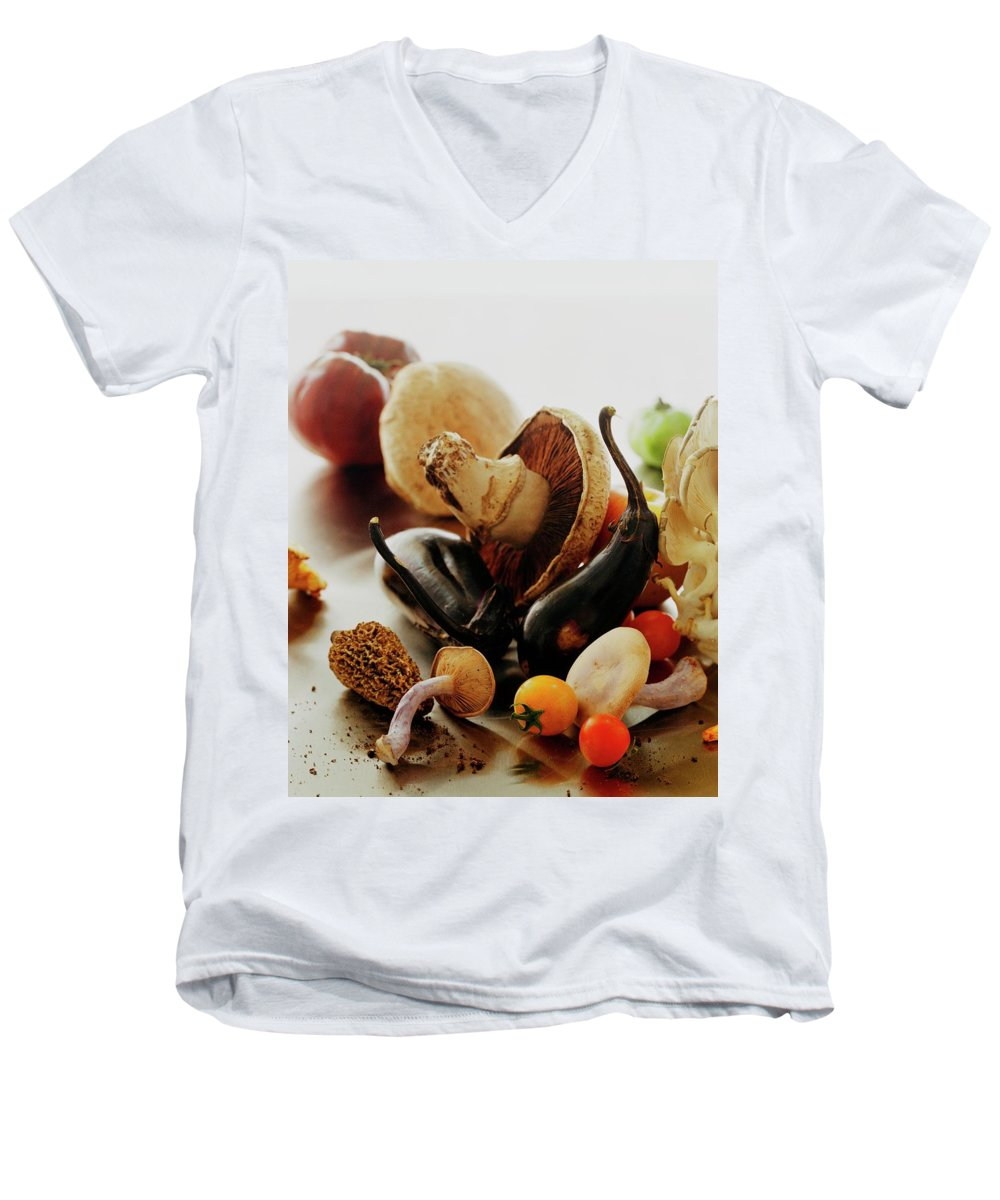 Vegetables Men's V-Neck T-Shirt featuring the photograph A Pile Of Vegetables by Romulo Yanes