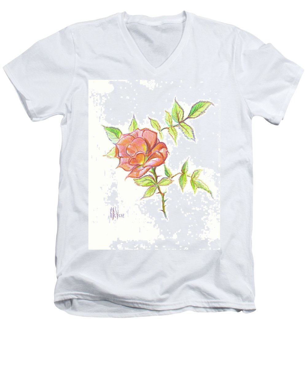 A Rose In Brigadoon Men's V-Neck T-Shirt featuring the drawing A Rose In Brigadoon by Kip DeVore