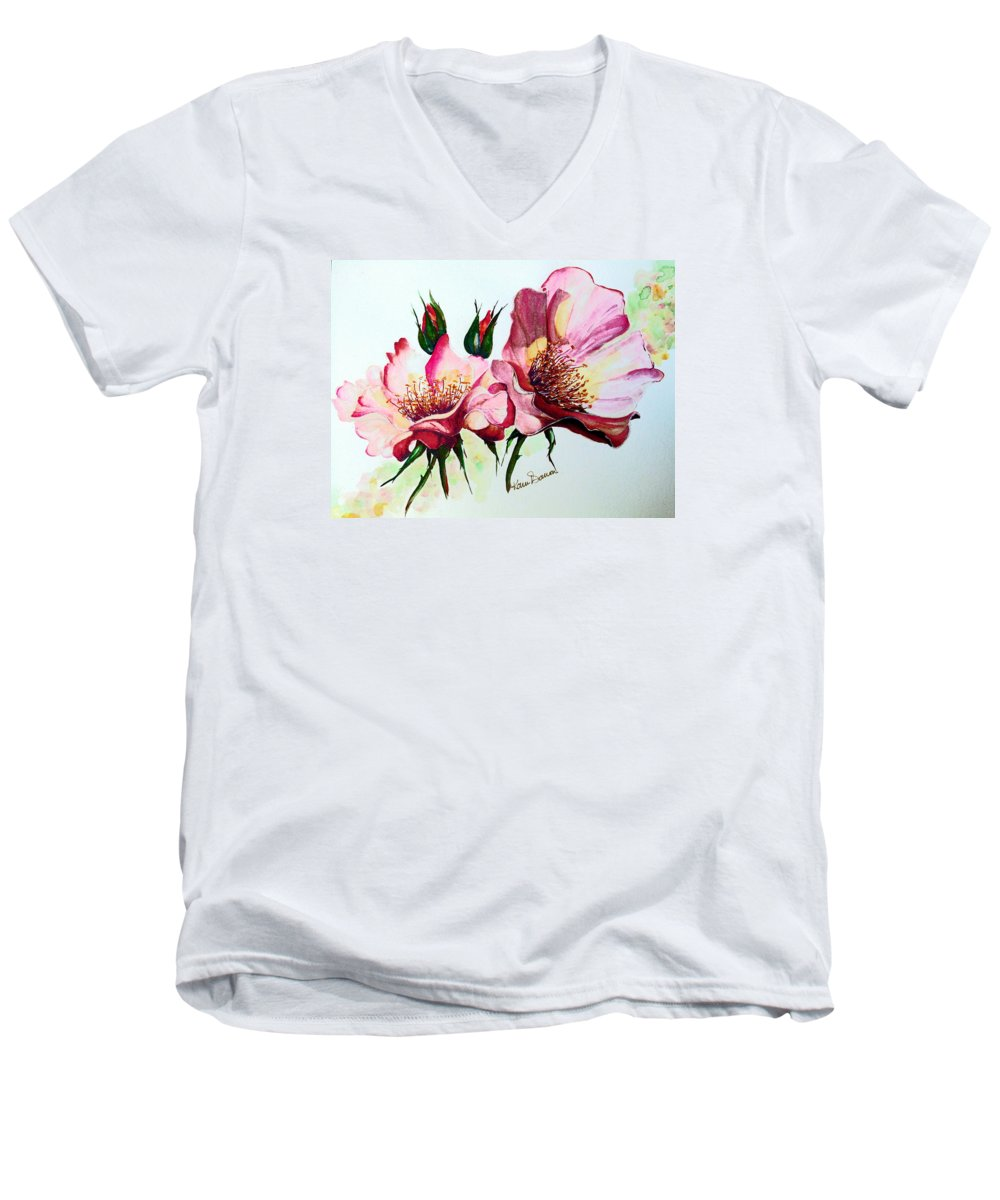 Flower Painting Men's V-Neck T-Shirt featuring the painting A Rose Is A Rose by Karin Dawn Kelshall- Best