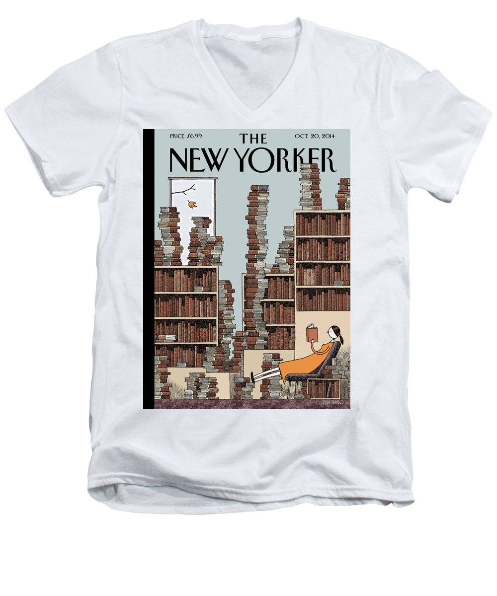 Books Men's V-Neck T-Shirt featuring the painting Fall Library by Tom Gauld